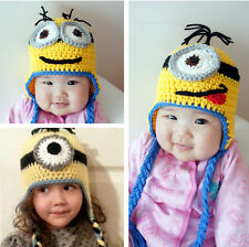 Despicable Me Minions Crochet Hat warm Winter Hats Dave Stewart Baby kids Adult