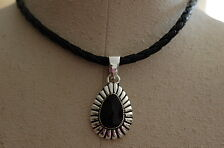 Lg Silver Chunky Onyx Pendant on Leather Necklace New