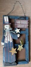 Country Hanging Screen Door Patriotic Red White Blue God Bless America Uncle Sam