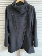 Ladies Zara Charcoal Grey Wool Military Style Fitted Jacket Coat Size Small UK10