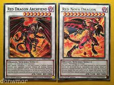 Red Dragon Archfiend + Red Nova Dragon - YuGiOh - HSRD - Rare - Mint cards