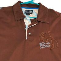 Akademiks Mens Short Sleeve Pullover Polo Shirt XXL 2XL Brown Casual Embroidered