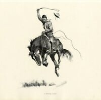 FREDERIC REMINGTON AMERICAN WEST COWBOY BREAKING A RUNNING BUCKING BRONCO HORSE