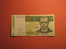 MALAWI Banknote 5 Kwacha 2005 UNC Paper Money Currency Bill bank note