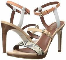 COLE HAAN Ayana Heel Dress Sandal Shoes Womens Snake Print White 7 NEW IN BOX