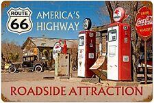Route 66 en la carretera atracción Oxidado Letrero De Metal 450mm X 300mm (PST)