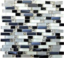 Glasmosaik mix weiß/grau/schwarz Fliesenspiegel Küche Art: 87-IL007 | 1 Matte