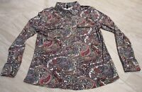 VERY NICE BCBG Max Azria Long Sleeve Blouse Top Paisley Red Blue Gold size XL