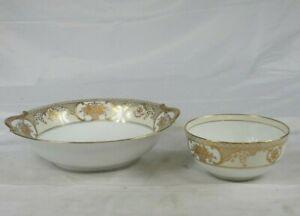 Vintage Noritake gold flower basket fruit serving bowl & sugar bowl white & gold