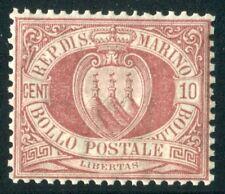 1894/9 San Marino 10 cent. rosso bruno nuovo centrato integro spl MNH  **