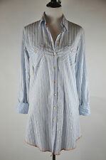Arnold Zimberg Cotton White Blue stripe Long button down long shirt Size L