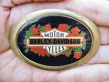 Vtg HARLEY DAVIDSON Belt Buckle 1983 Motorcycle HD Chopper Baron Roses RARE VG++
