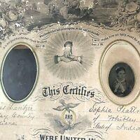"VTG/Antique Marriage/Baptismal License Certificate 1876 Framed 20x16"" photograph"