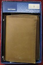 Basic Editions Brown Leather Tri-Fold Wallet w/Built in ID Holder
