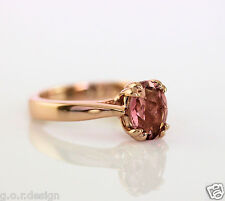 1.80 Carat Genuine Pink Tourmaline 9x7 Oval Solitaire Ring in 14k Rose Gold