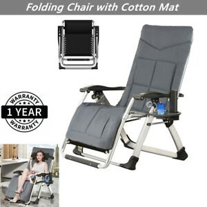 Outdoor Reclining Chaise Lounge Bed Patio Folding Chair Portable with Cotton Mat