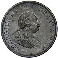 1799 HALFPENNY - GEORGE III BRITISH COPPER COIN - V NICE