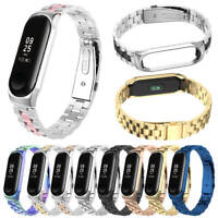For Xiaomi Mi Band 3 /4 Stainless Steel Strap Wrist Watch Band + Frame Bumper