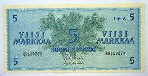 FINLAND 5 MARKKAA 1963 P 106a AUNC 'ABOUT UNC'.