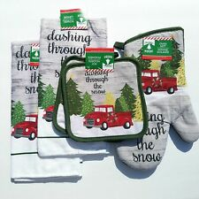 "5Pc Red Truck ""Dashing Through The Snow""  Christmas Kitchen Holiday Towel Set"