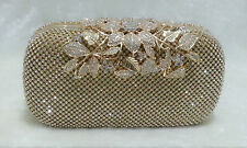 Gold/Silver ~ Flower Crystal Clasp Bridal / Evening Clutch Purse Party Bag