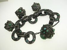 VINTAGE MIDDLE EASTERN 800 SILVER LARGE CHARMS BRACELET WITH TURQUOISE VERY NICE