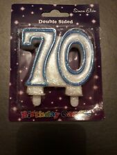 BLUE GLITTER NUMBER 70 CAKE CANDLE - CAKE DECORATION - U.K SELLER