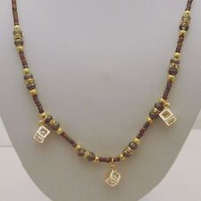 16 Inch Beaded Necklace With Three Crystal Caged Pendants