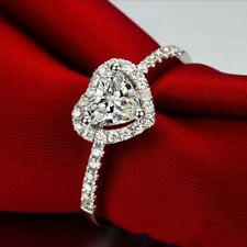 Gift for Her Women's Heart-shaped Love Silver Faux Diamond Ring Engagement