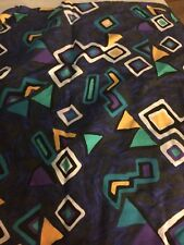 Retro Bright Vintage Fabric Viscose Material Blue Rayon Satin Silk Feel Yellow T