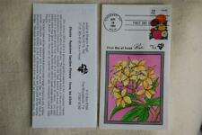 Garden Flowers Zinnia 29c Stamp FDC Handpainted by Pugh Sc#2830 Issued 4/28/94