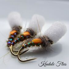 Olive / Red Holo Suspender Buzzers Size 12 (Set of 3) Fly Fishing Flies
