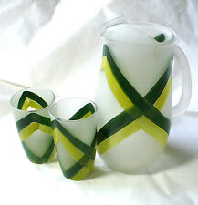 Vintage Vernon Mid Century 2 Frosted & Painted Chartreuse Juice Glass & Pitcher