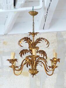 HANS KOGL Palm Tree Leaf Ceiling Light 1970's Regency Mid Century Gilded Metal