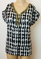 Suzanne Grae Womens Blouse Size 10 NWT Black White V Neck Detail Cruise