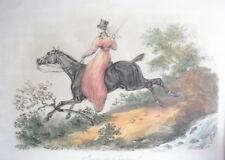 after Carle Vernet Color Mezzotint print, equestrian theme, Woman side saddle