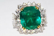 $259,800 20.59Ct Natural African Emerald & Diamond Ring Platinum & 18K Gold
