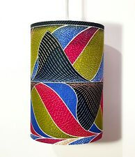 NEW - Hand Made African Geometric Swirl Lampshade Lime Green, Red & Blue.