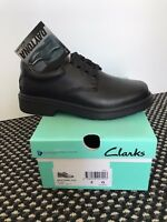 Clarks Daytona / Platinum Junior Black Leather School Shoes Lightweight/Lace Ups