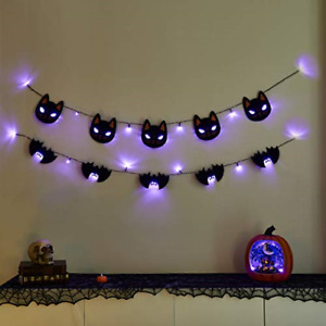 Eambrite Halloween Fairy Lights Banners Black Cat and Black Bat Decorations 5FT,