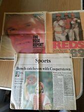 Vintage 1989 Cincinnati Reds Newspaper Lot Rose Report Bench