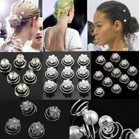 HOT Wedding Diamante Crystal Hair Twists Swirls Pins Spirals Pearl Flower Party
