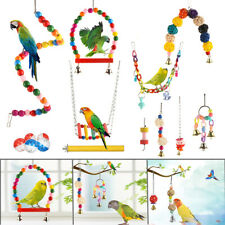 New listing Hanging Bell Metal Hammock Chewing Parrot Toys Bird Toy Set Swing Ladder Stand
