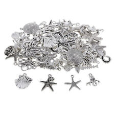 60x Tibetan Silver Ocean Series Charms Pendant Making Clothing Jewelry Craft