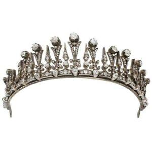 925 Sterling Silver Tiara Vintage Style Highend White Round OEC Cut Fine Jewelry