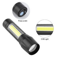COB+T6 LED Torcia ricaricabile Zoom Lampada torcia Luce USB Impermeabile