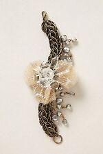 NWT Anthropologie TUILERIES BRACELET Chiffon Bow Metallis Silver Bead Metal Prom