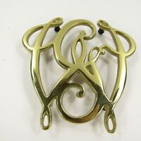 GEORGE WASHINGTON CYPHER Brass Virginia Metalcrafters Trivet 10-13 Vintage
