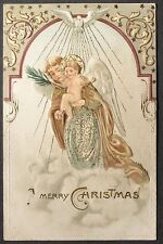 White Dove Beautiful Angel Holds Baby w/ Halo Clouds Nouveau Border Christmas pc