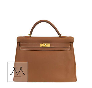 Hermes Kelly Bag 40cm Gold GHW Clemence Leather - w/ Certificate of Authenticity
